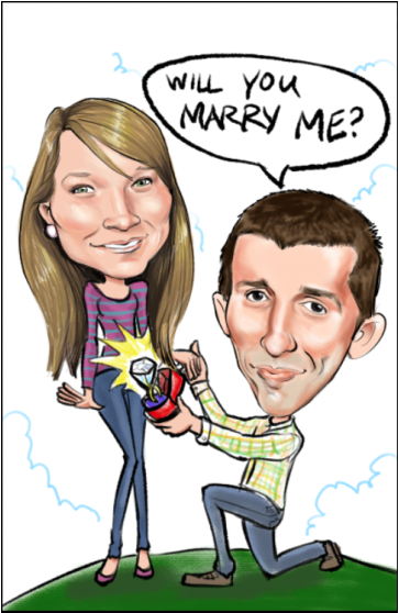 caricature will you marry me